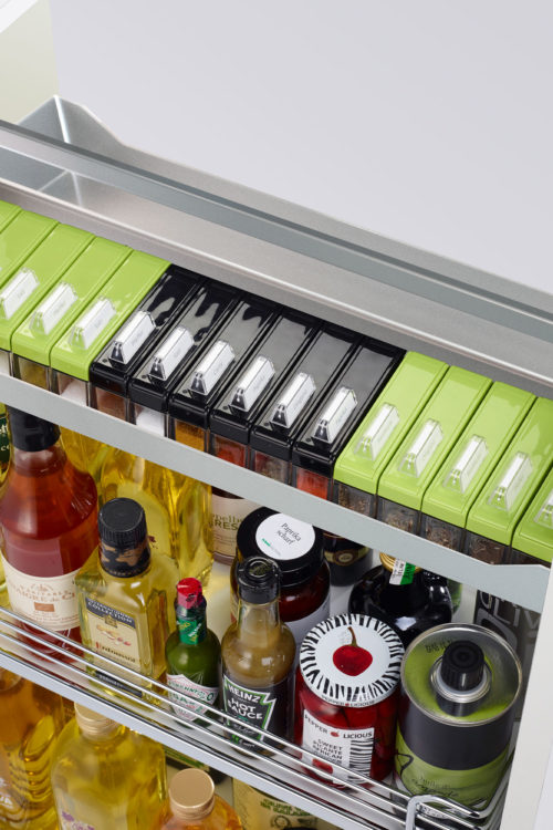 Base Pullout Spice Rack Chrome White Kesseboehmer USA